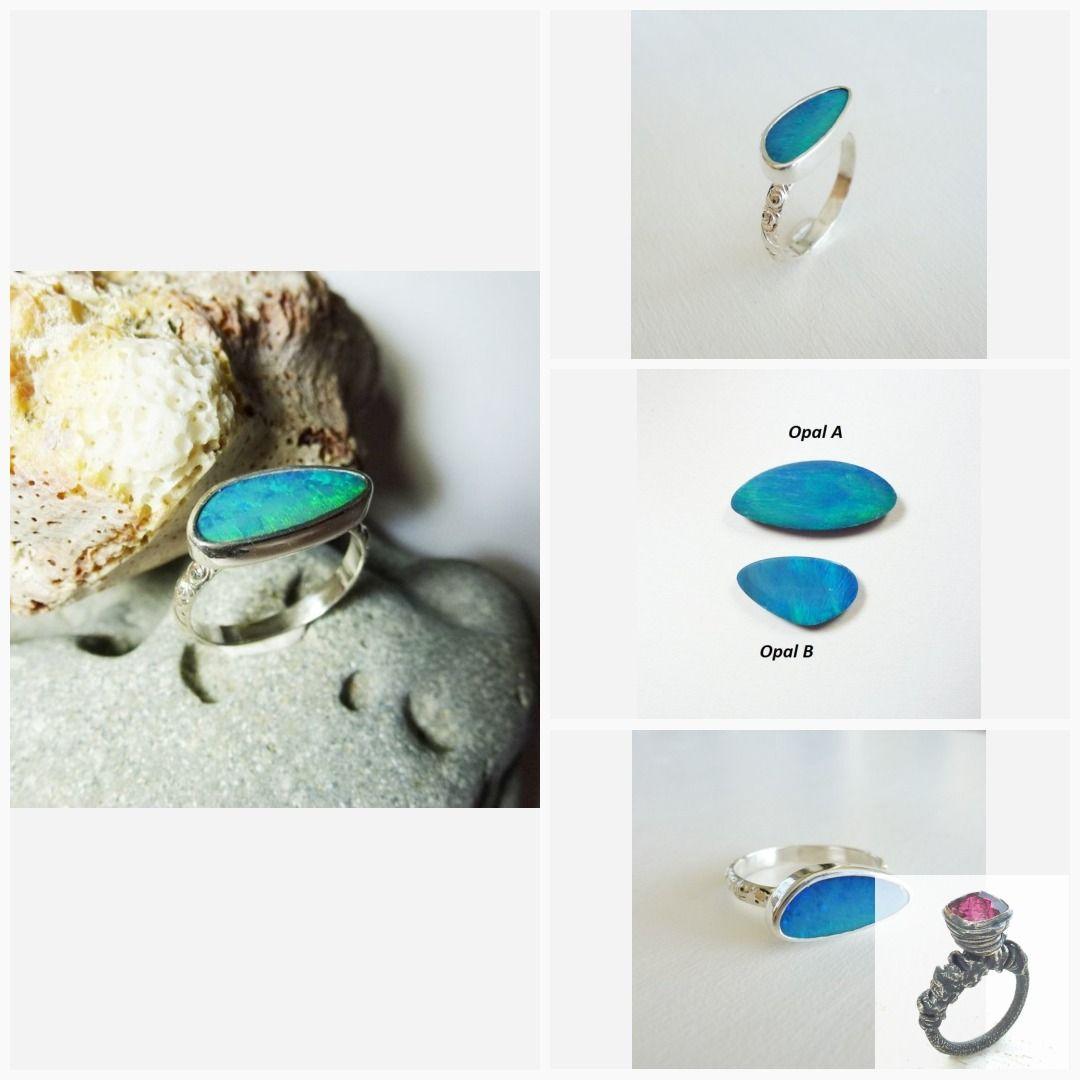Sterling Silver Ring With Ocean Blue Opal Doublet Australian Opal Ring Blue Opal Green Flash Fine Silve Australian Opal Ring Blue Opal Ring Silver Opal Ring
