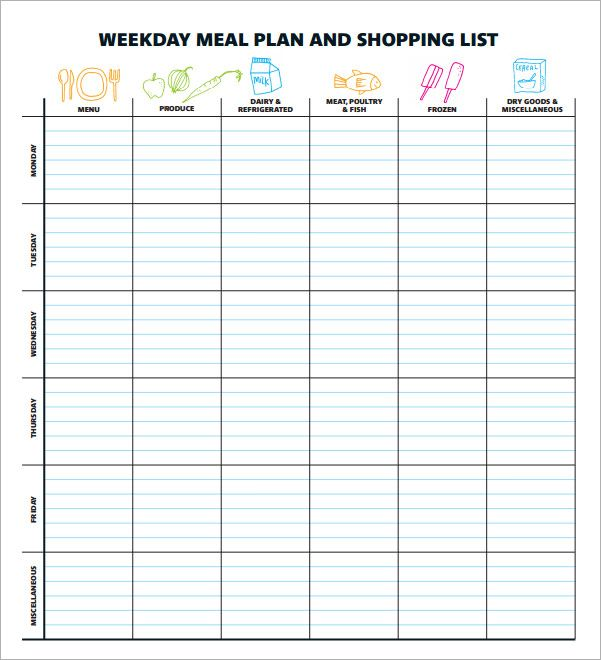 meal planning template 17 download free documents in pdf excel organization pinterest. Black Bedroom Furniture Sets. Home Design Ideas