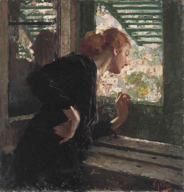 Vincenzo Irolli ~ Italian Painter, Born 1860 ~ Who's Knocking?~ Lady At The Window