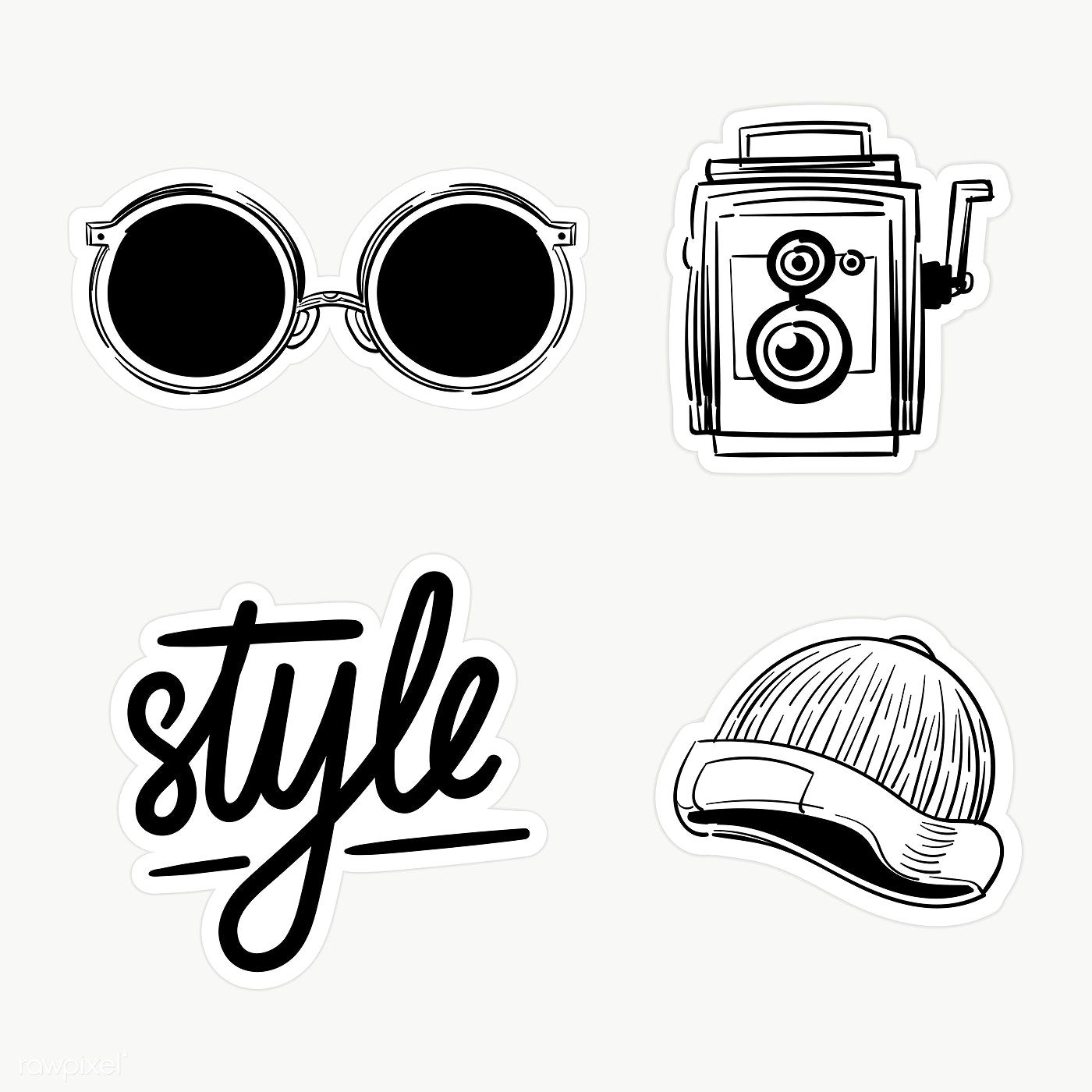 Download Premium Png Of Set Of Black And White Sticker Doodle Transparent Black And White Stickers Black And White Doodle Black Stickers