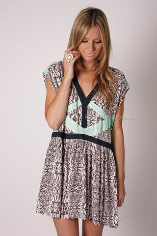 blessed are the meek money honey dress - brown pattern with mint detail