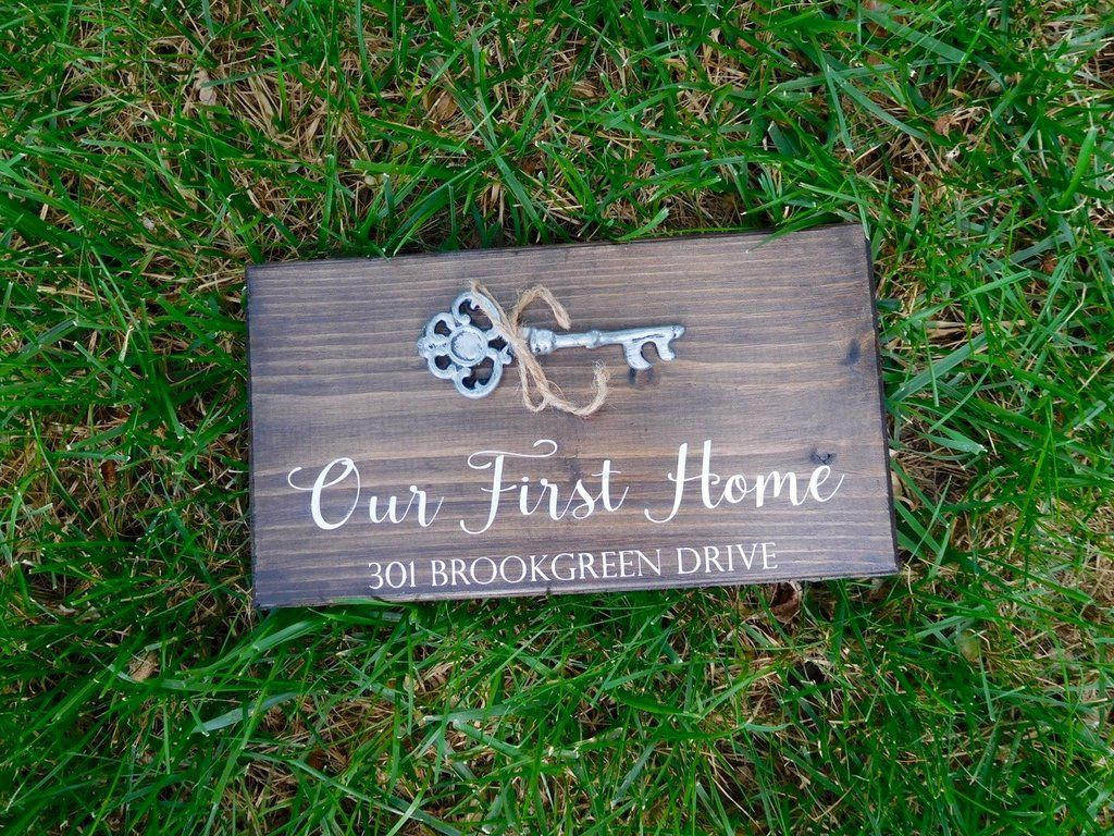 Our First Home Custom Wood Sign With Address With Images First Home Gifts Realtor Closing Gifts New Home Gifts