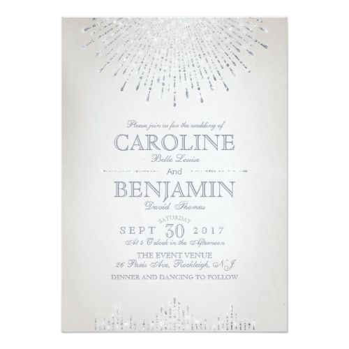 Vintage Wedding Invitation Glam silver glitter art deco vintage wedding card