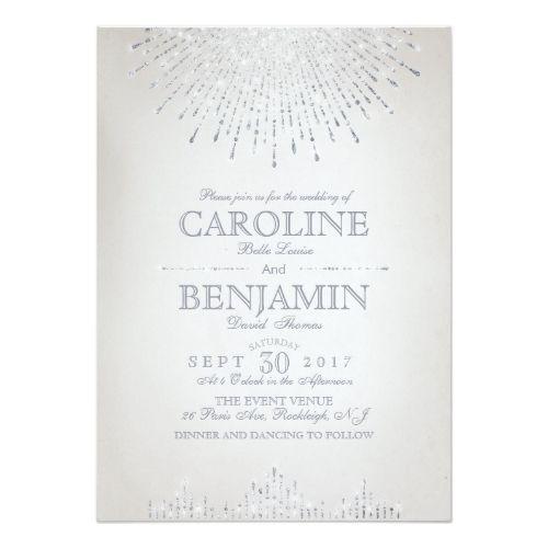 Vintage Wedding Invitation Glam silver glitter art deco vintage wedding card