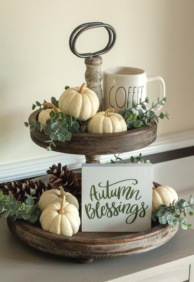 unglaublich Tiered Tray Zeichen-Herbst Home Decor-Herbst Segen Mini Zeichen-Herbst Geschenke-... #tieredtraydecor