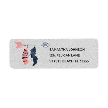 Boho Feathers and Arrow Return Address Label - faux gifts style - sample address label