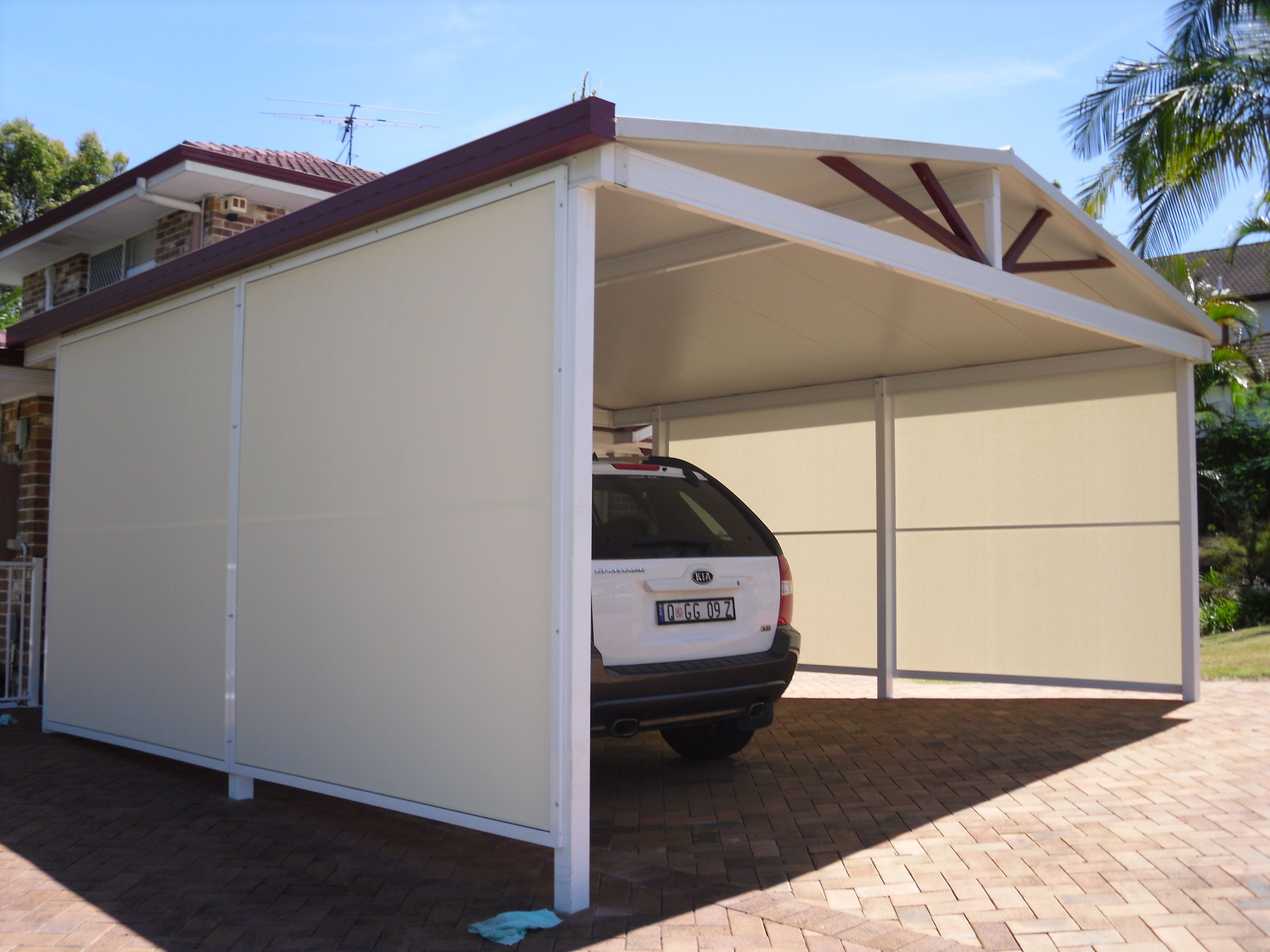 Privacy Screens For Your Carport We Used Pvc Mesh Fabric As An Infill For These Screens As You Can See They Give Ple Fabric Decor Dulux Colour Privacy Screen