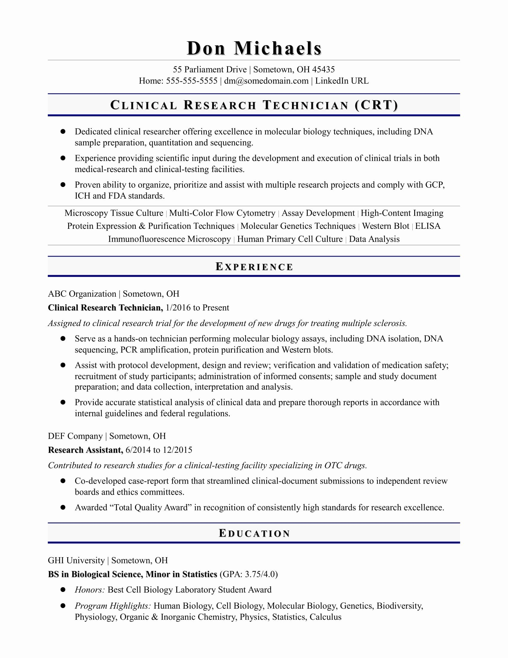 Research Assistant Job Description Resume Unique Entry Level Research Technician Resume Sample Biology Labs Resume Skills Student Resume
