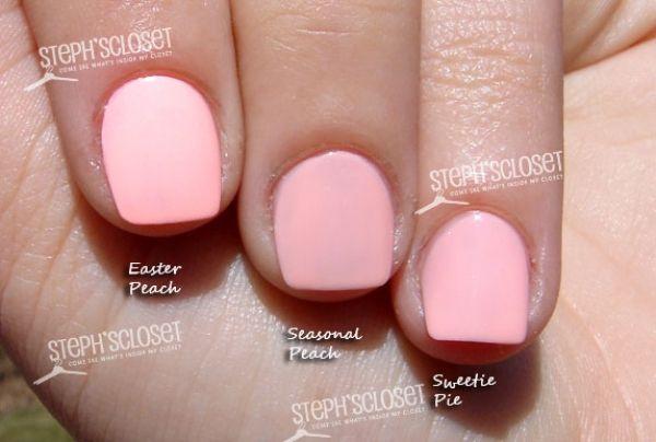 ... in Easter Peach, MAC Seasonal Peach and Maybelline Sweetie Pie