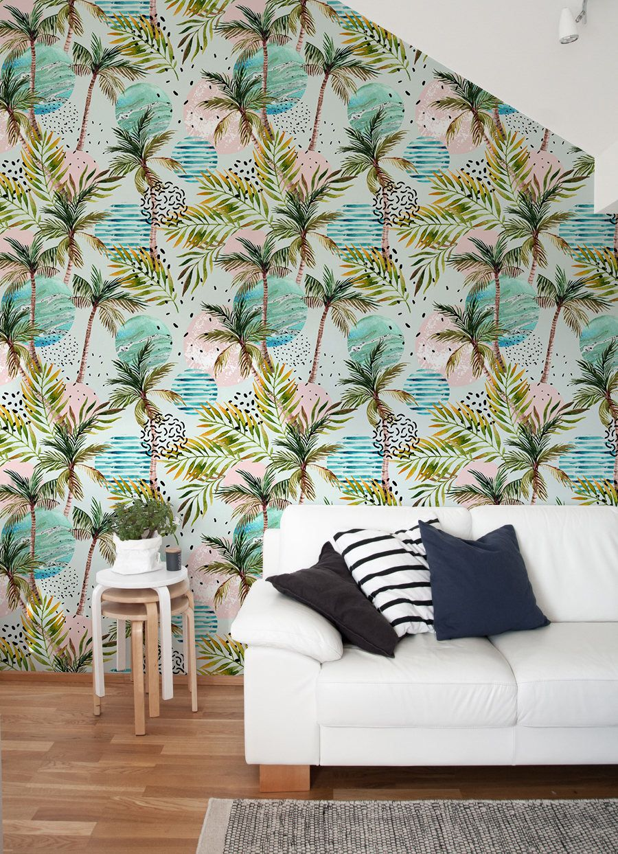Removable Wallpaper Tropical Wallpaper Peel And Stick Wallpaper Leaves Wallpaper Jungle Wall Tropical Decor Inspiration Tropical Wall Decor Tropical Decor