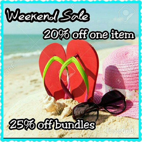 Sale through Sunday! 20% off one item - just offer 20% less than my listed price and I will accept.   25% off of bundles - 2 or more items.  All items listed at $10 or less must be bundled to get the discount. Other