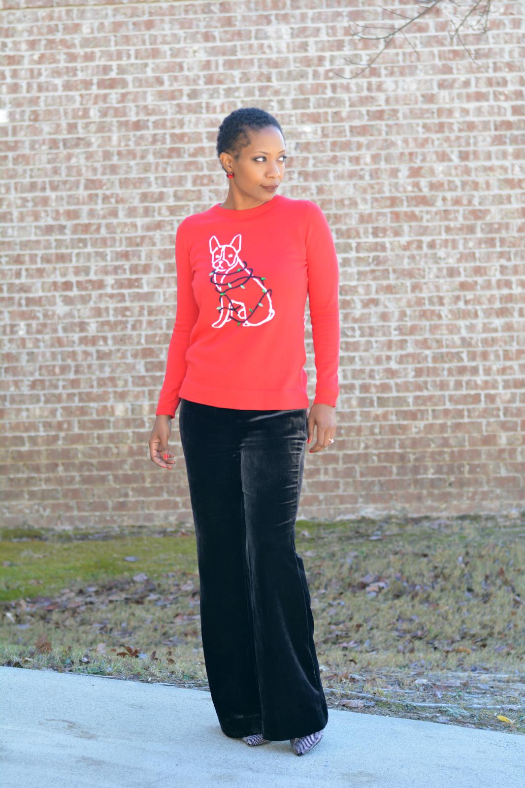 68d80fa83d50d ... velvet pants, ugly christmas sweater, cute christmas sweater, terrier  dog christmas sweater, velvet flare pants, holiday outfit, christmas outfit