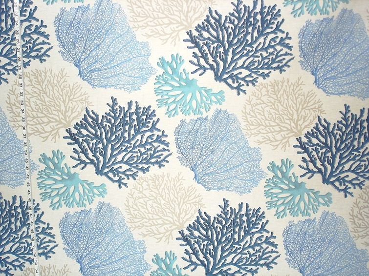 Coral Pattern Fabric blue coral fabric aqua ocean from brick house fabric: novelty