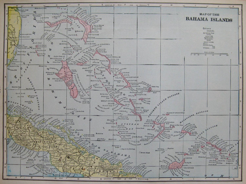 Antique BAHAMAS Map The Bahama Islands Map