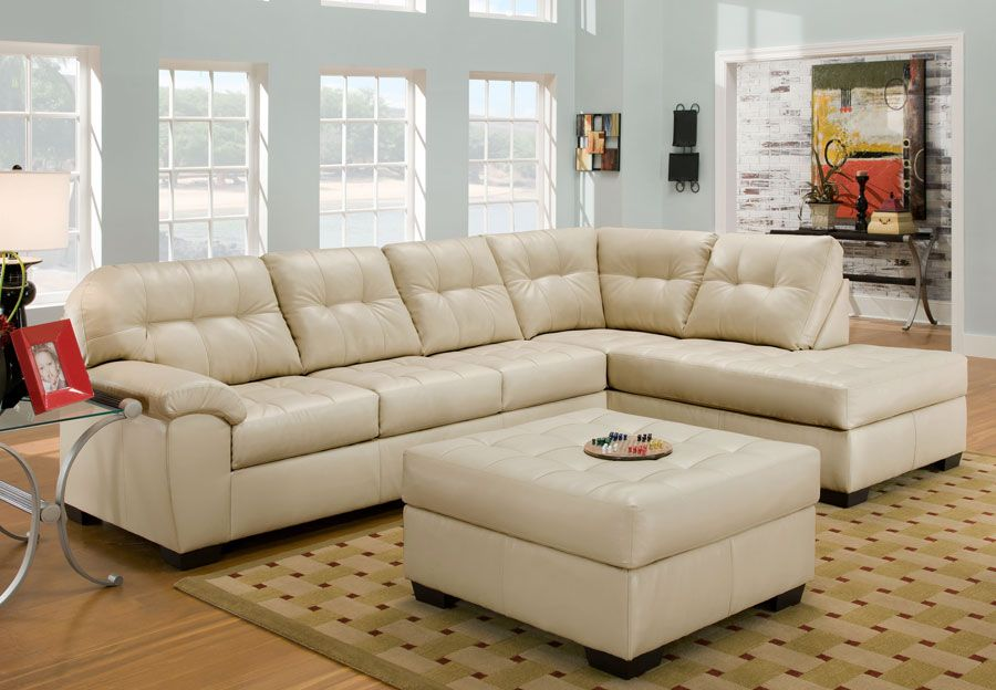 Simmons Soho Pearl Showtime Breathable Leather Chaise Sofa