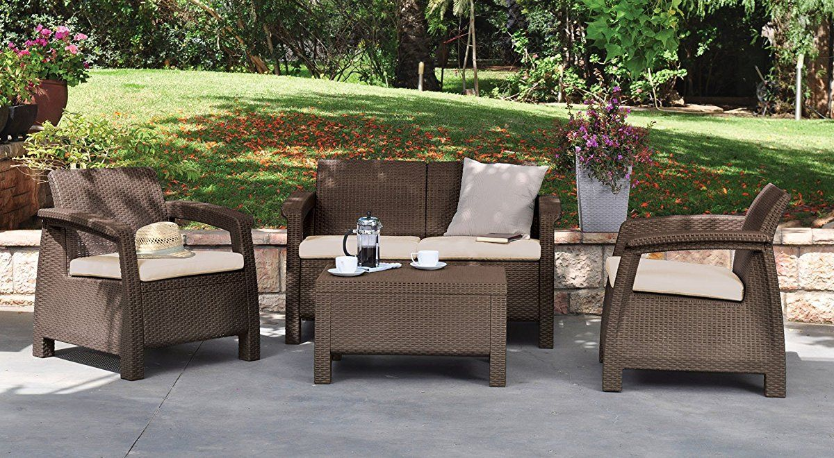 4 piece set all weather outdoor patio garden furniture w cushions brown