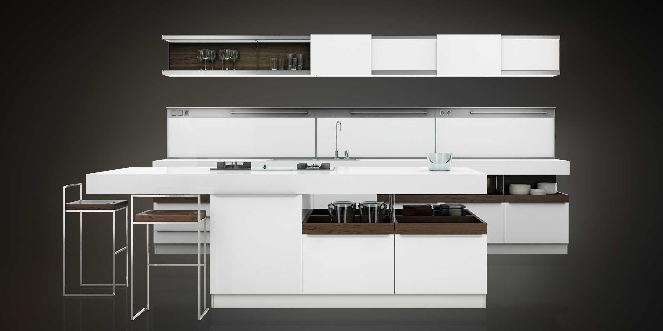 white kitchen w/ oak accent by Poggenpohl   Cuisine luxe, Cuisines ...