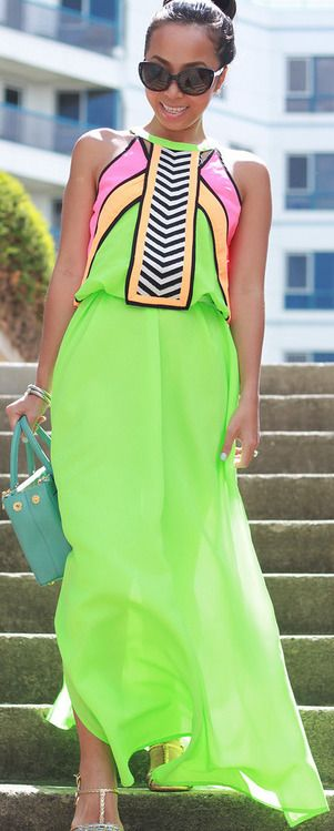 Neon Maxi Dress ☻                                                                                                                                                                  ⇜•ṄεΦЙ❉€яᗛƶΣ•⇝