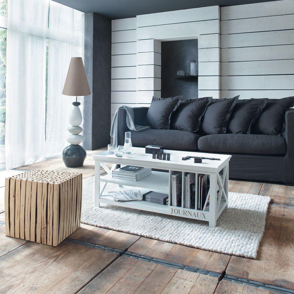 Mesa Baja De Madera Blanca An 108 Cm Maisons Du Monde Home And Living Furniture Home