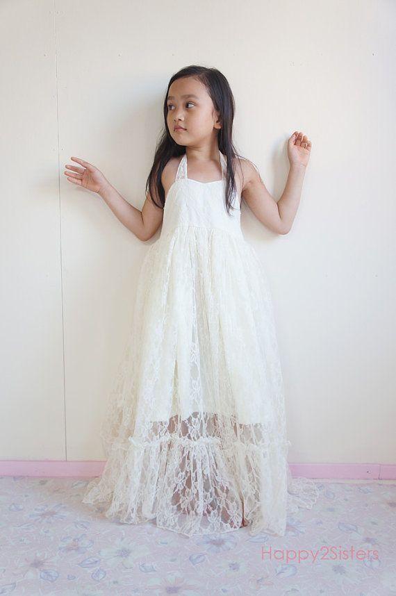 Lace Flower girl dress, Girls maxi dress, Rustic flower girl dress ...
