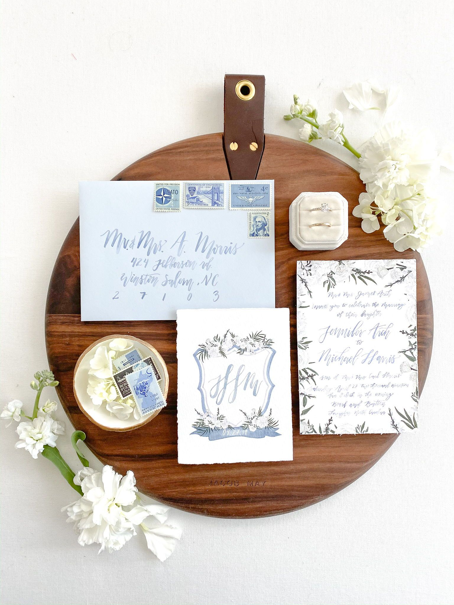 This dusty blue watercolor wedding invitation suite is so