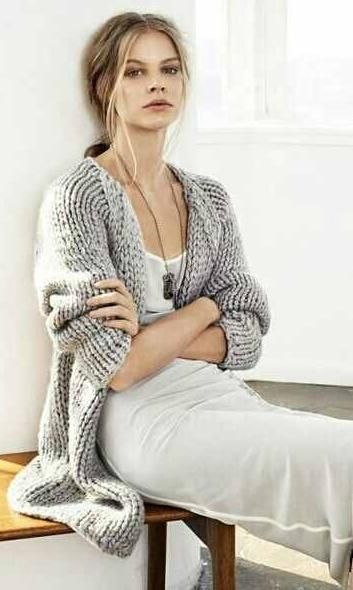 white dress + grey cardi -- love this sweater