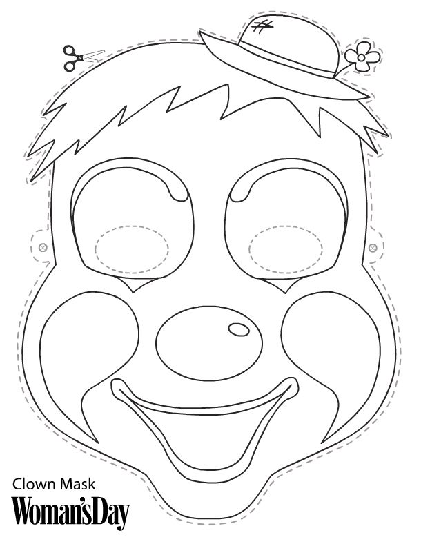 Clown Mask Printable Clown Crafts Clown Mask Diy Halloween Masks