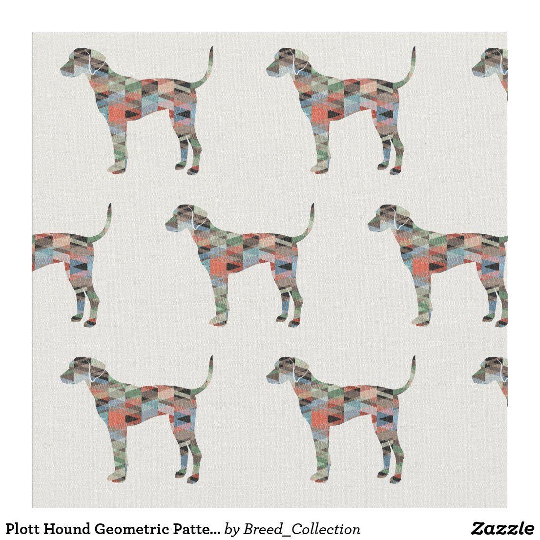 Plott Hound Geometric Pattern Silhouette Plaid Fabric