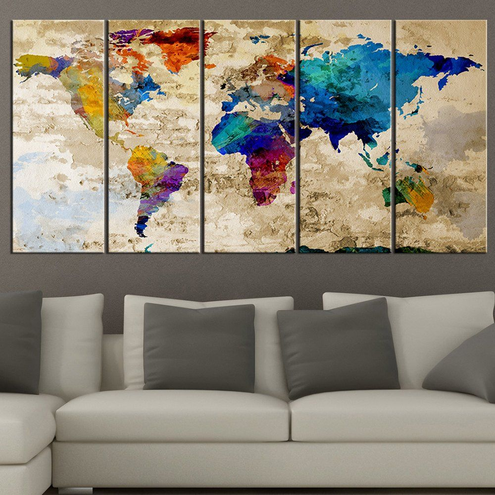 Amazon world map canvas print contemporary 5 panel colorful amazon world map canvas print contemporary 5 panel colorful abstract rainbow colors large wall art posters prints gumiabroncs Choice Image
