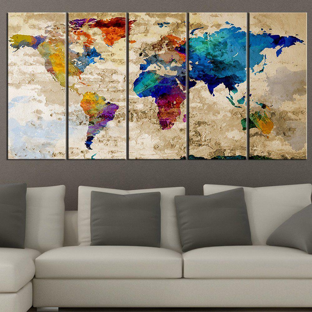 Amazon world map canvas print contemporary 5 panel colorful amazon world map canvas print contemporary 5 panel colorful abstract rainbow colors gumiabroncs Choice Image