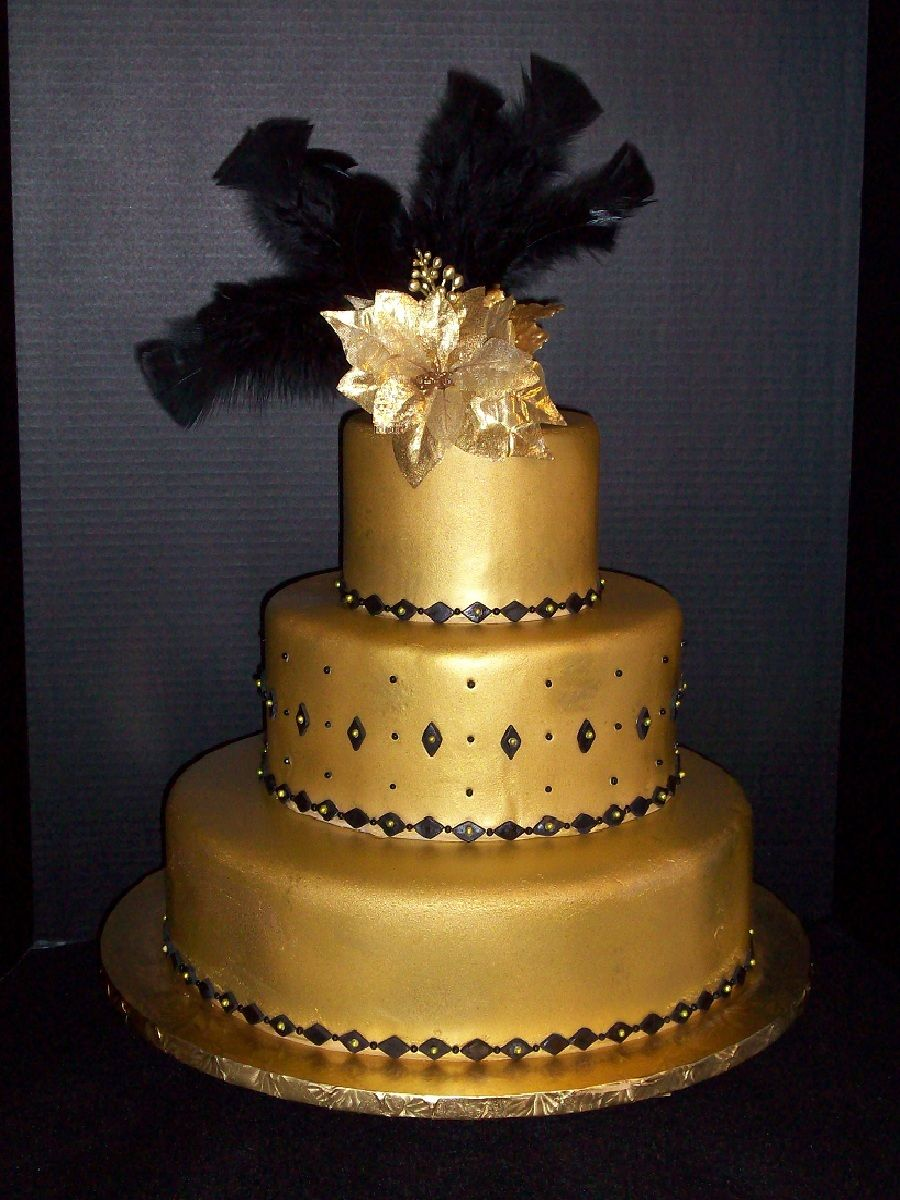 Gold and Black Wedding Cake - Brides request was a Gold fondant ...