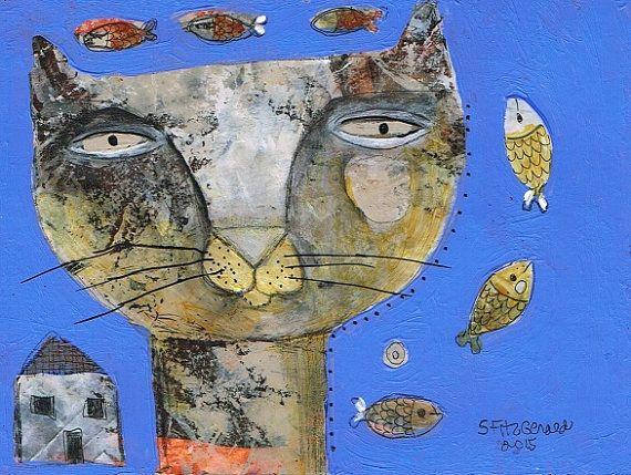 Mixed Media Painting Original Modern Folk Art By Kittyjujube Modern Folk Art Cat Art Mixed Media Painting