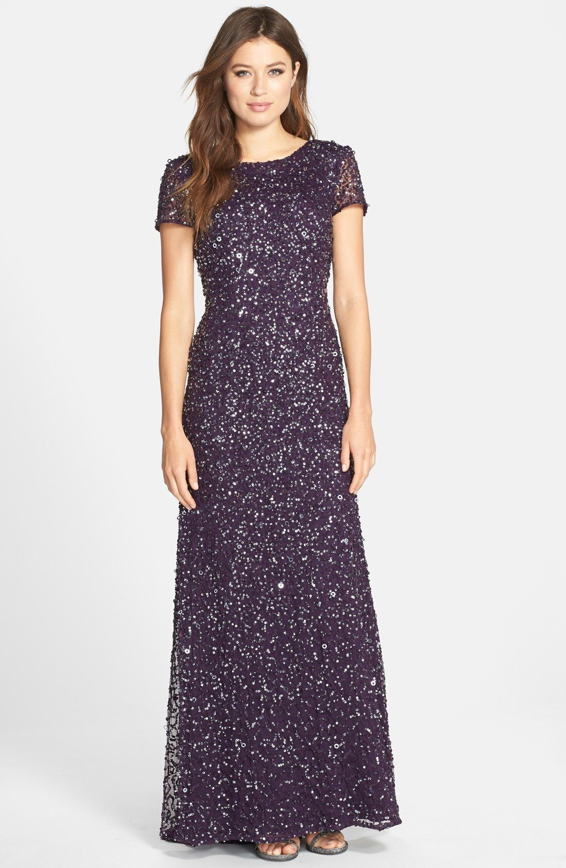 Adrianna Papell Short Sleeve Sequin Mesh Gown (Regular | Dresses ...