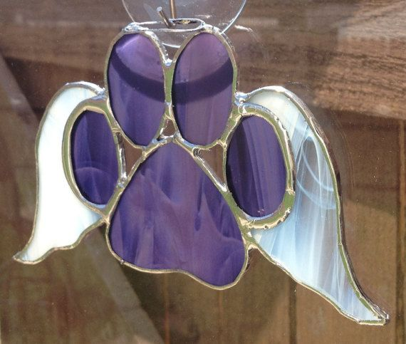 Purple Stained Glass Paw Print With Angel by ...