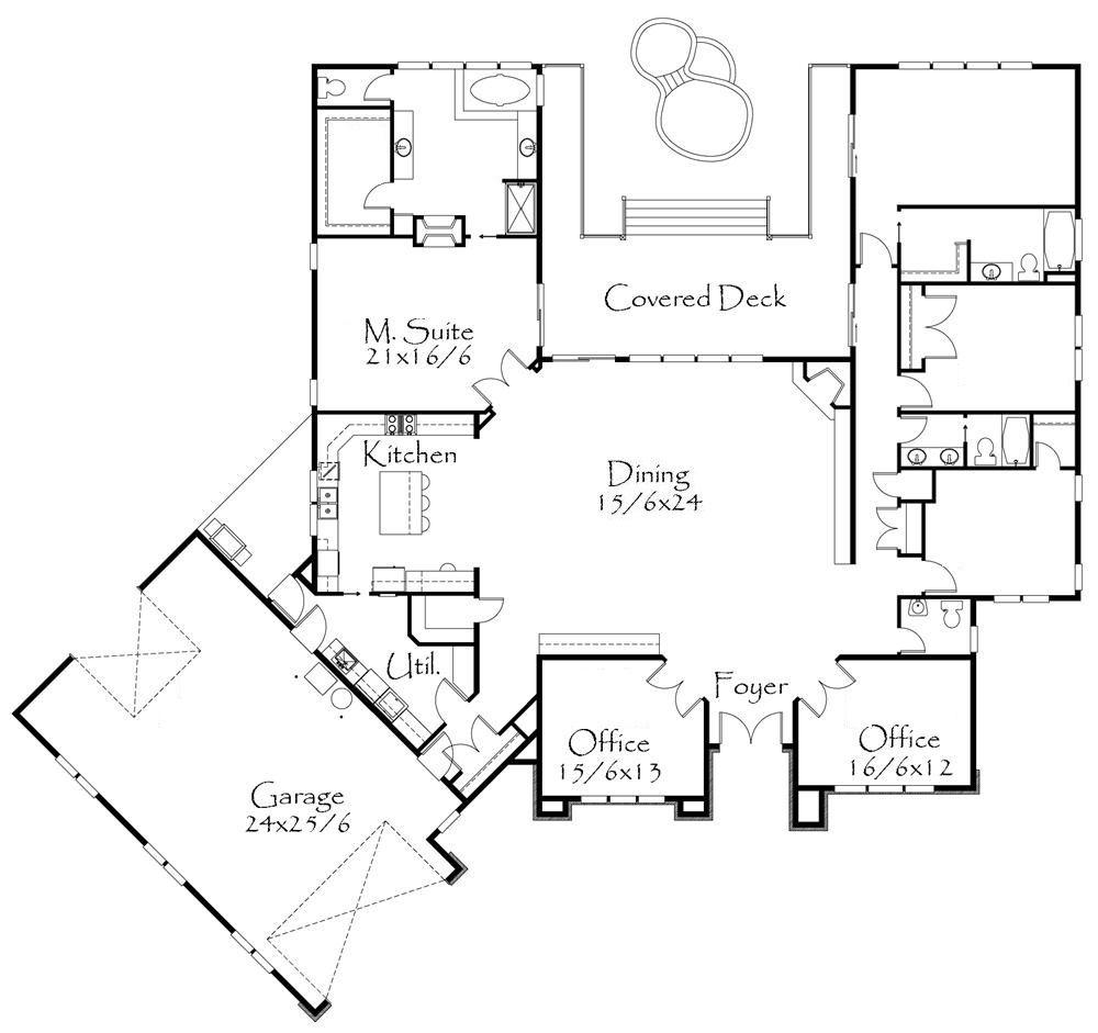 Plano de casa moderna de 4 dormitorios y 2 oficinas | planos casas ...