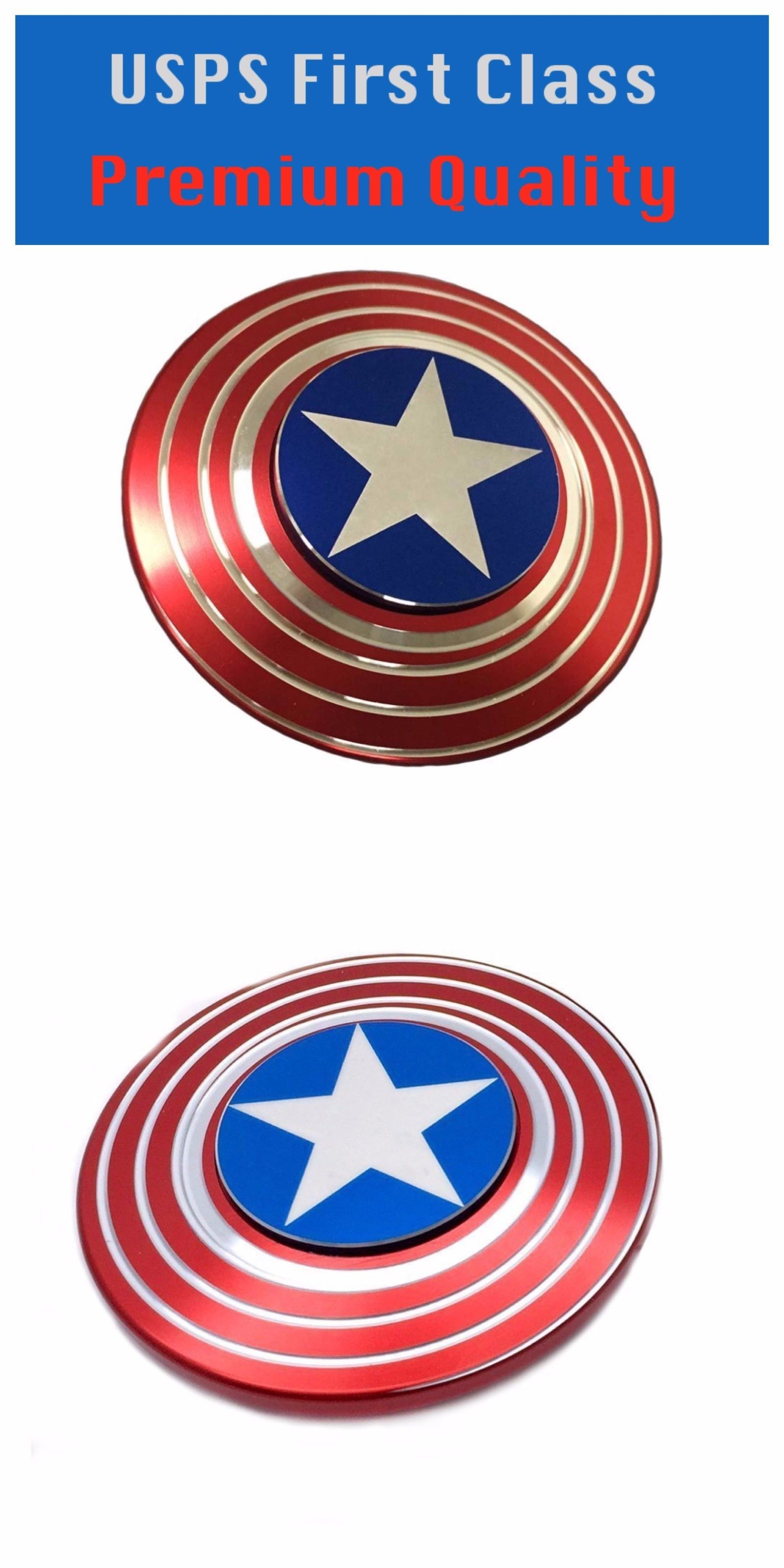 Other Wholesale Toy Lots 26424: 10X Metal Fidget Spinner Toy Adhd Autism  Captain America Shield