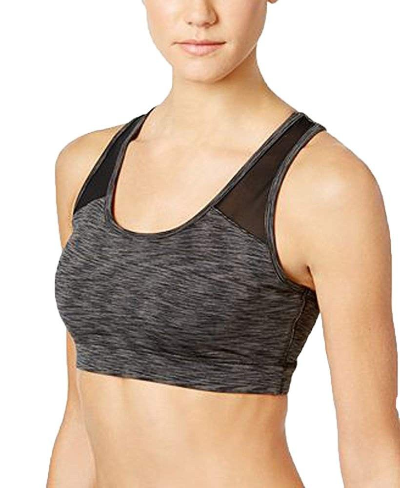 Womens Open Back Mid Impact Sports Bra - Noir Space Dye - CW18DC52IM6 - Sports & Fitness Clothing, W...