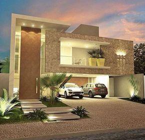 Moderne Häuser, Kleine Häuser, Hauswand, Haus Design, Vorderansicht Designs,  Zeitgenössische Häuser, Feng Shui, Arquitetura, Dekorative Felsen