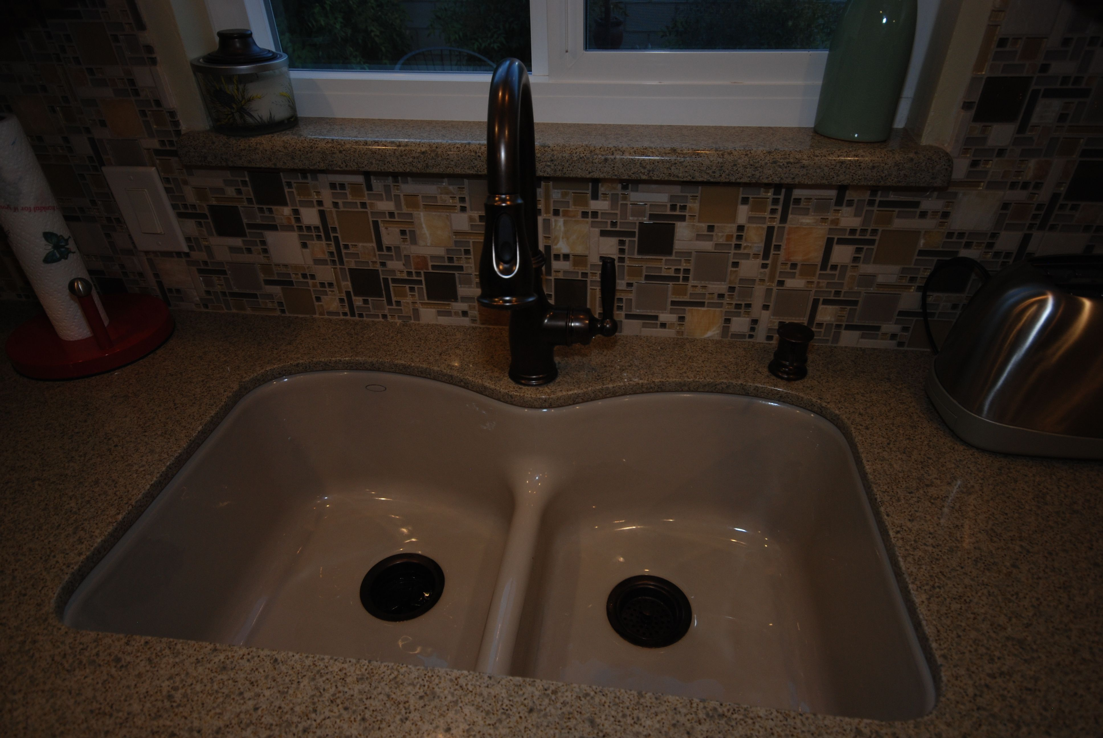 Kohler brookfield kitchen sink - Kohler Langlade Sink In Sandbar In Zodiaq Mossy Green Quartz Moen Faucet In Orb
