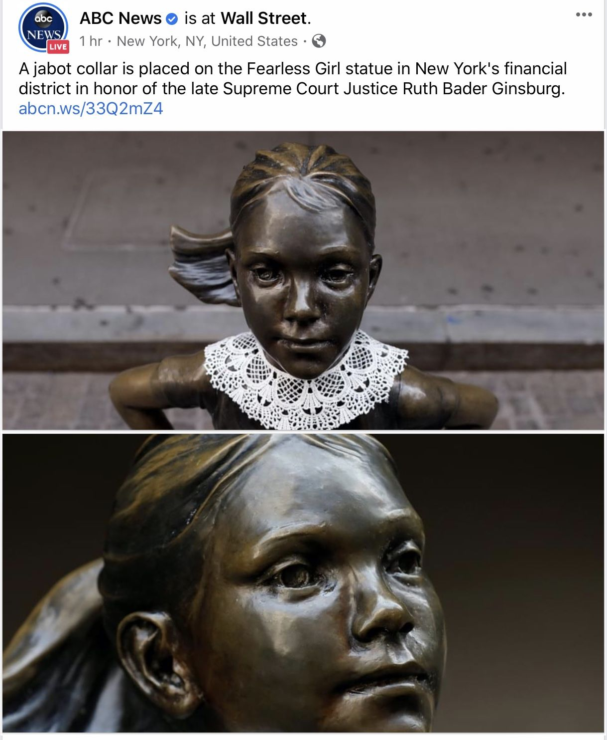 A Jabot Collar Is Placed On The Fearless Girl Statue In New York S Financial District In Honor Of The Late Supreme Co Fearless Girl Statue Statue Buddha Statue