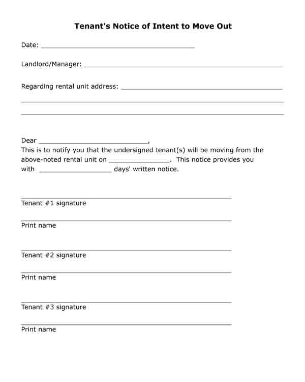 Free printable letter  Tenant's Notice of Intent to Move Out  Black