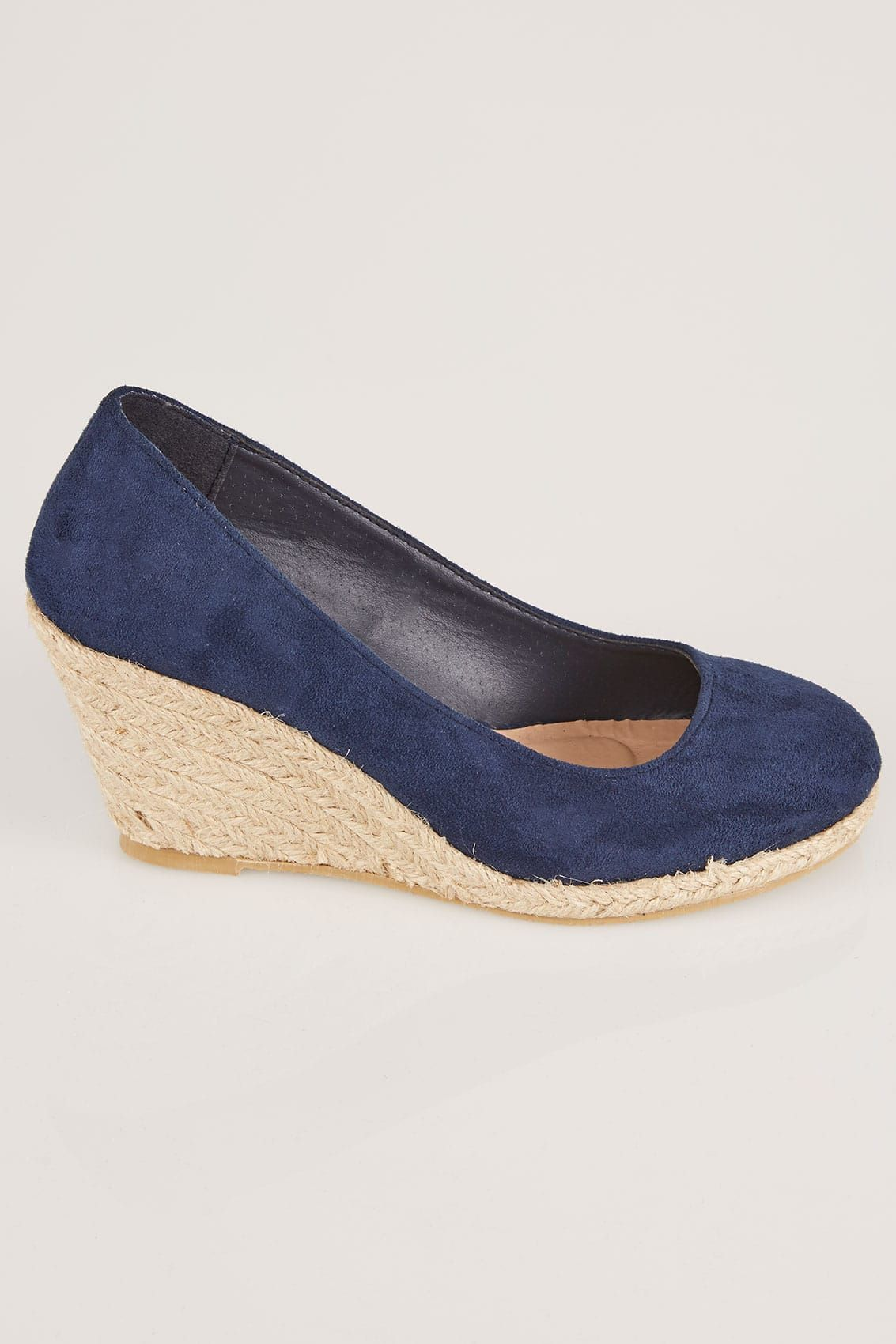 e85dad0e089 Navy COMFORT INSOLE Closed Toe Espadrille Wedges In TRUE EEE Fit