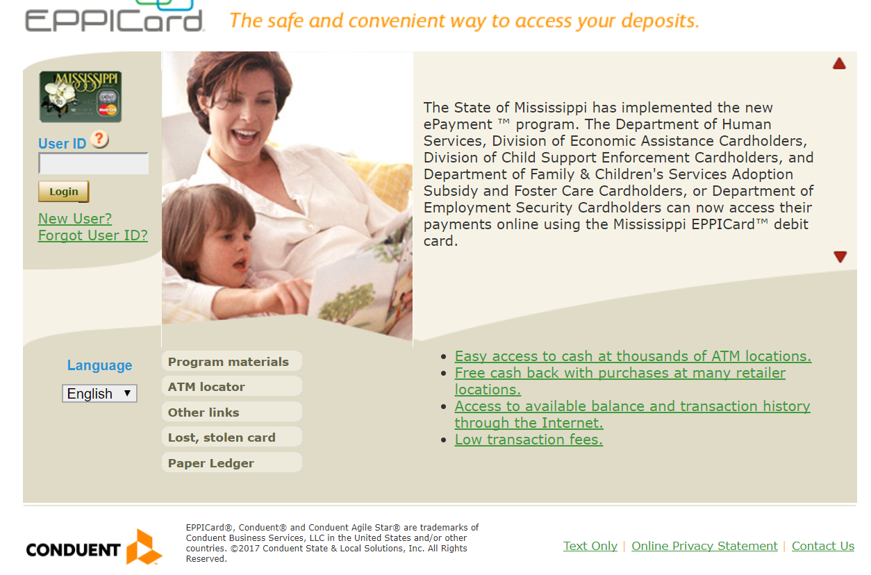 EPPICard Mississippi Login to Access Deposits Child