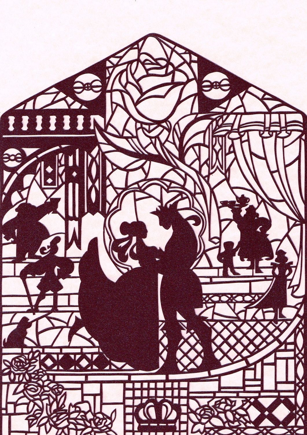 Papercut art print beauty and the beast by lagodossonhos on etsy
