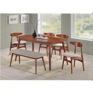 Baxton Studio Edna Mid Century Modern Medium Oak Finishing Dining Bench    Overstock.com Shopping   The Best Deals On Dining Chairs