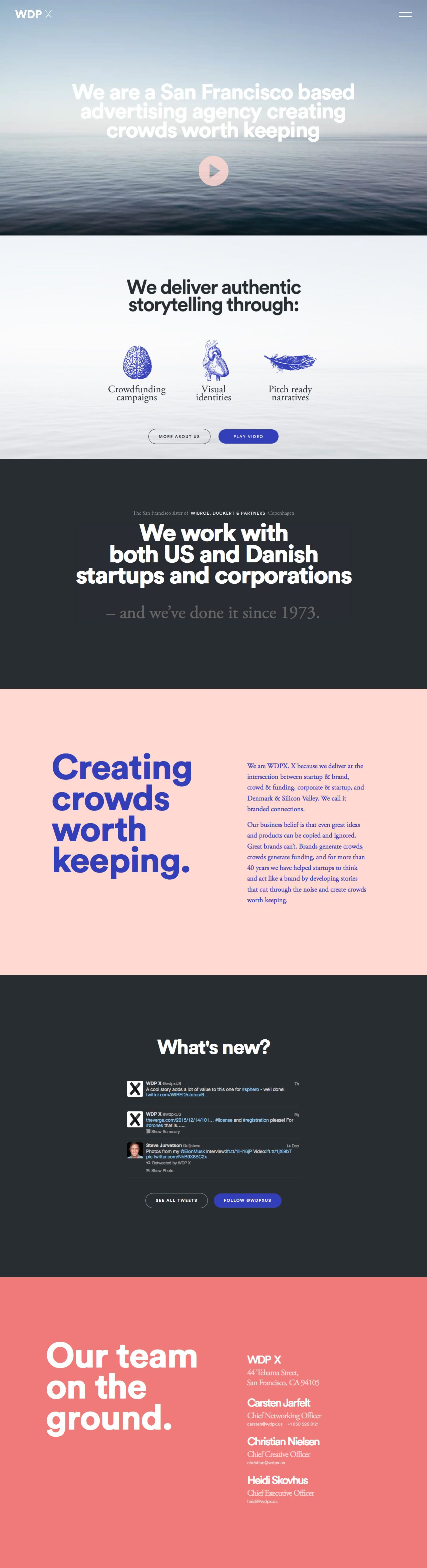 Clear big typography and good whitespace in this One Pager for advertising agency, WDP X.