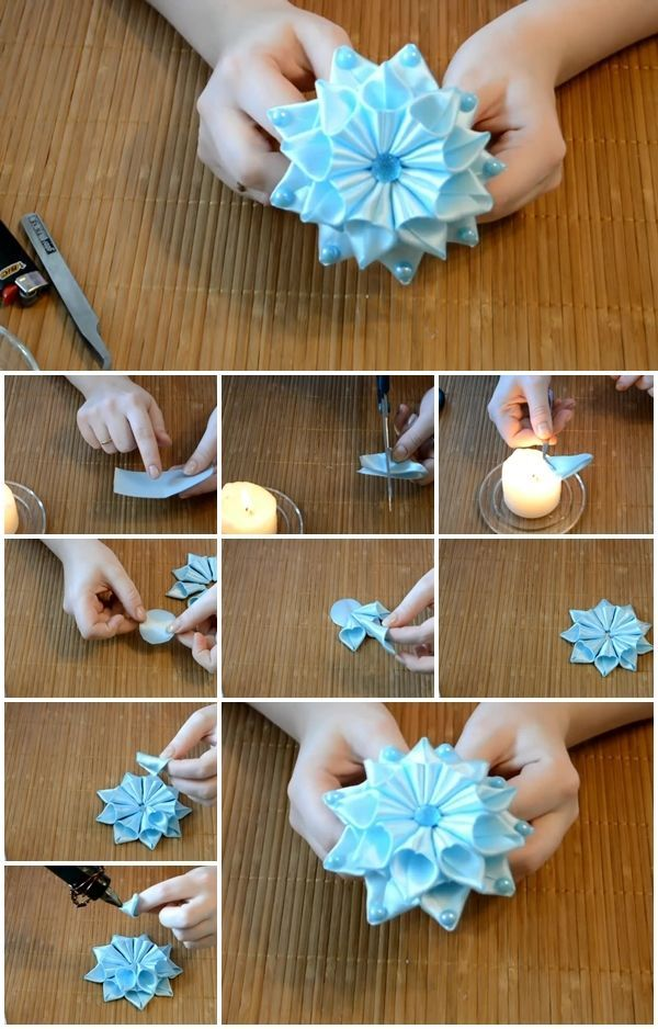 Ribbon Flowers Diy : ribbon, flowers, Ribbon, Flower, Kanzashi, Tutorial,, Crafts,