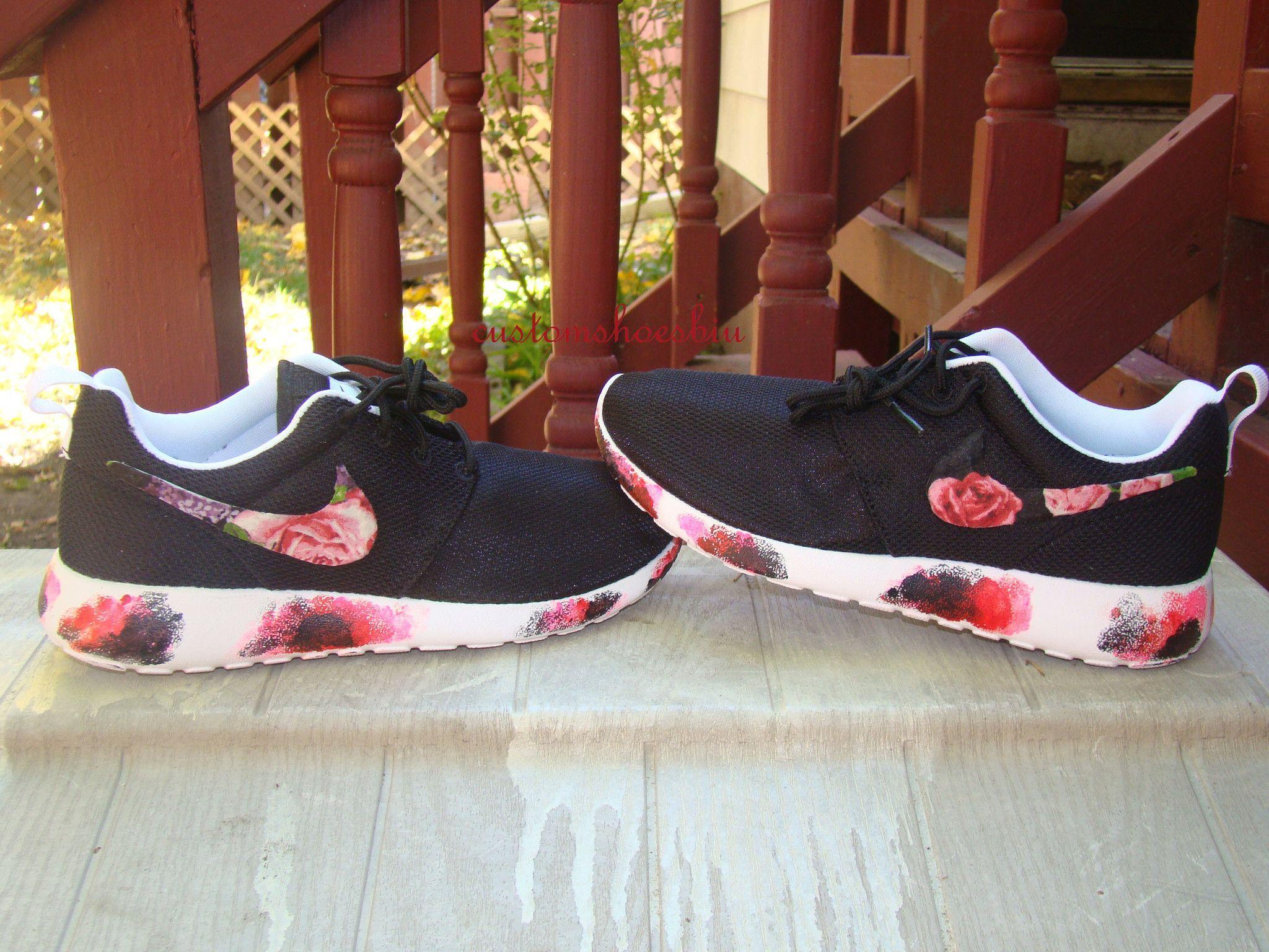 huge discount e6f55 c8acd Custom Nike Roshe Run- Floral Nike Roshe Runs with Paint Soles- Women  Men  Kids