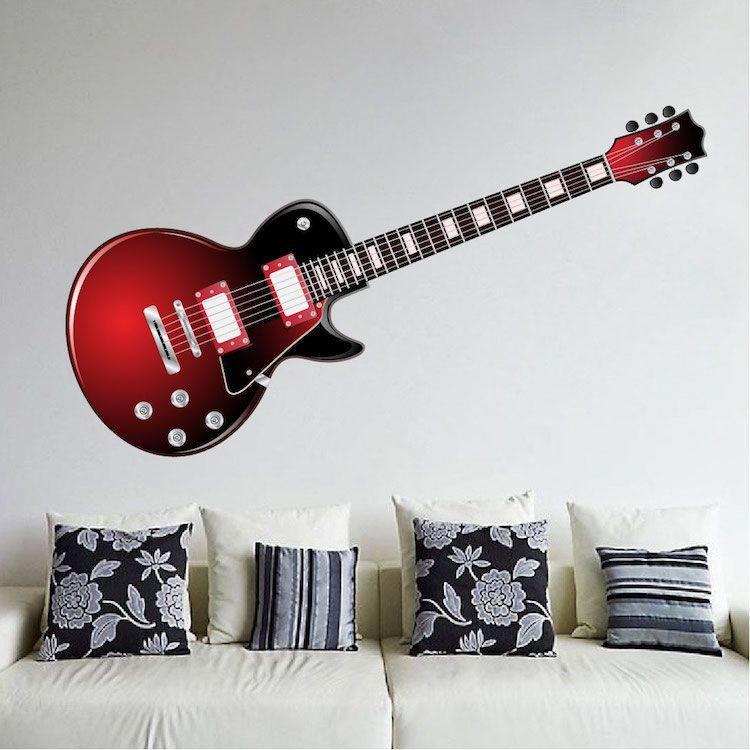 red electric guitar wall mural decal music murals wallpaper Home