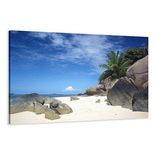 Visario Leinwandbilder 5005 Bild auf Leinwand Strand, 120 x 80 cm